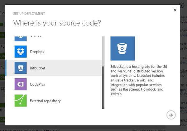 Select the source control platform to deploy nopCommerce to Azure Web Sites