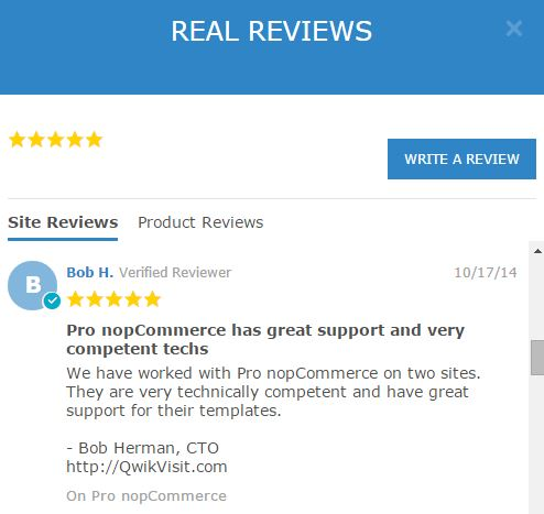Pro nopCommerce real customer reviews and testimonials