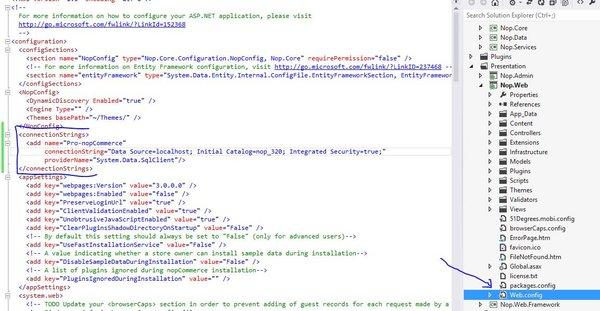 EF Migrations in nopCommerce - Setup Web.config