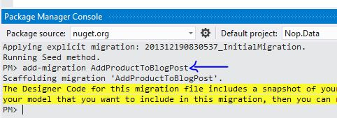 EF Migrations in nopCommerce - Add Product To Blog Post