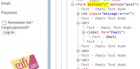 Example of generated HTML if we don't customize Html.BeginForm() part for _LoginBox.cshtml