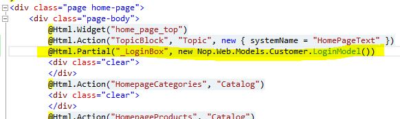 Referencing _LoginBox.cshtml from other pages, such as the home page