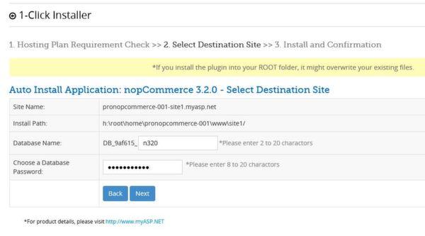 myASP.Net free nopcommerce hosting - setting up 2nd step
