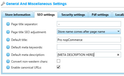 nopCommerce - Setting Default Meta Description is harmful for SEO