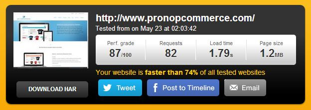 pro nopCommerce website speed test result