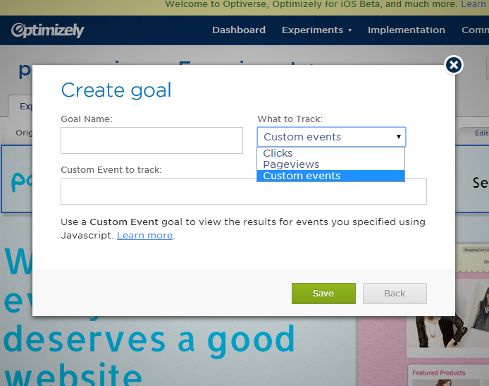 Setting goals in Optimizely